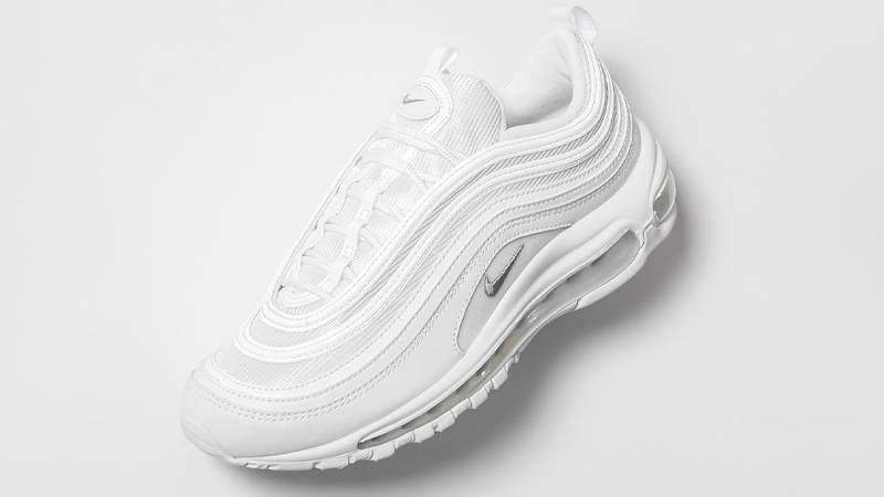 air max 97 triple white on feet
