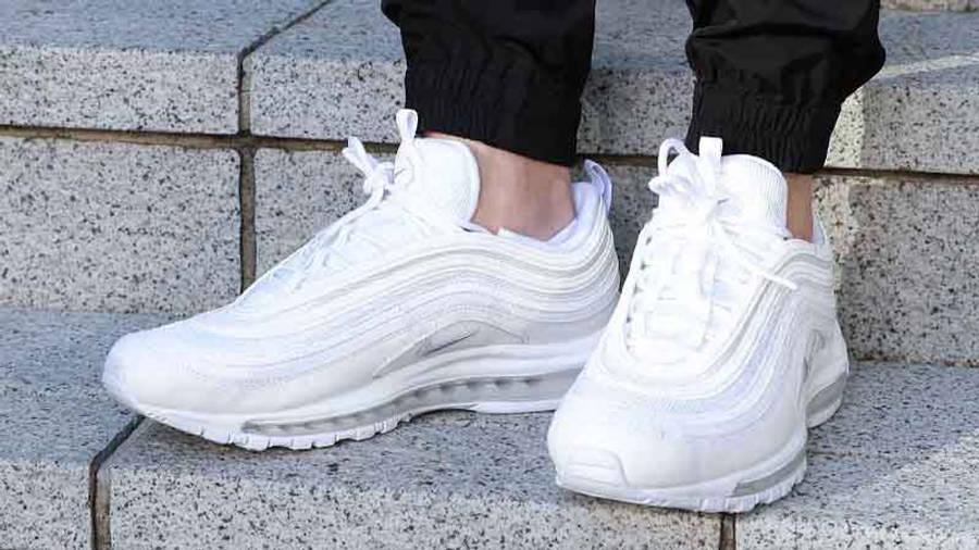 Nike Air Max 97 Triple White On Foot