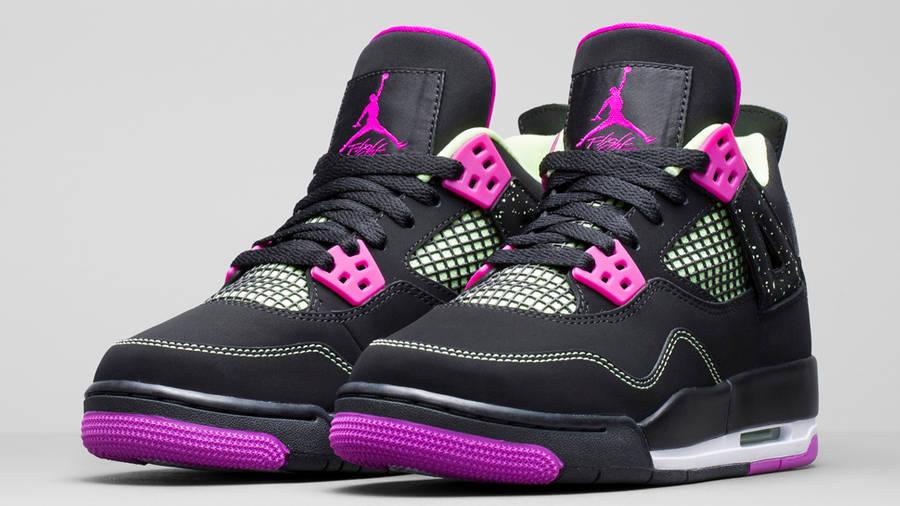 Nike Air Jordan 4 GS Black Neon Pink
