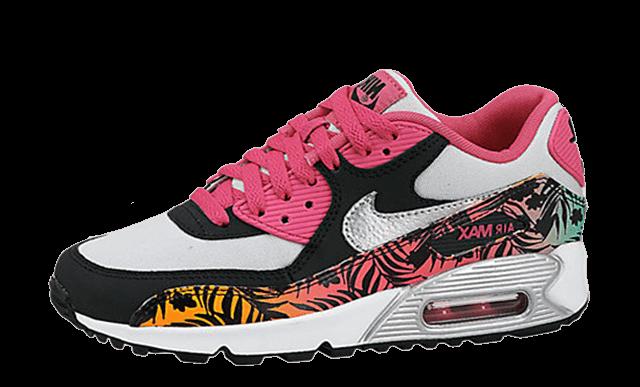 Nike Air Max 90 Print GS Pink Pure Platinum