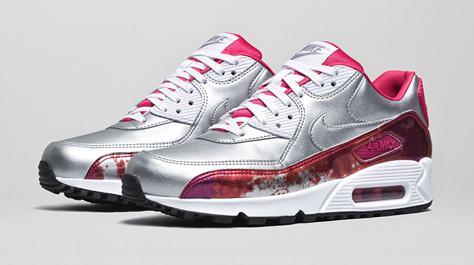 Nike Womens Air Max 90 PRM QS Silver Red Where To Buy