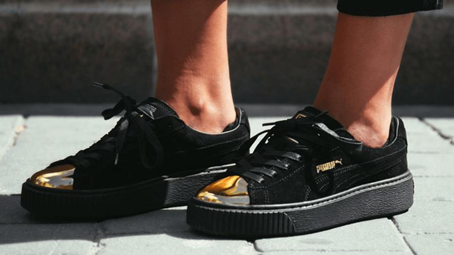 Puma Suede Platform Black Gold Toe