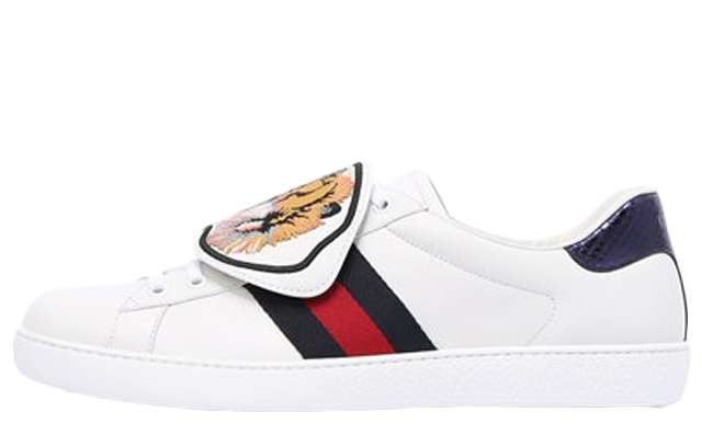 Gucci Ace Tiger Leather Strap Sneakers