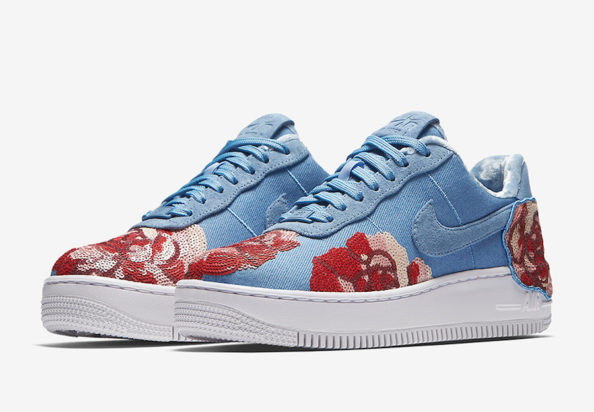 Nike Womens Air Force 1 Upstep Floral Sequin Pack December Sky