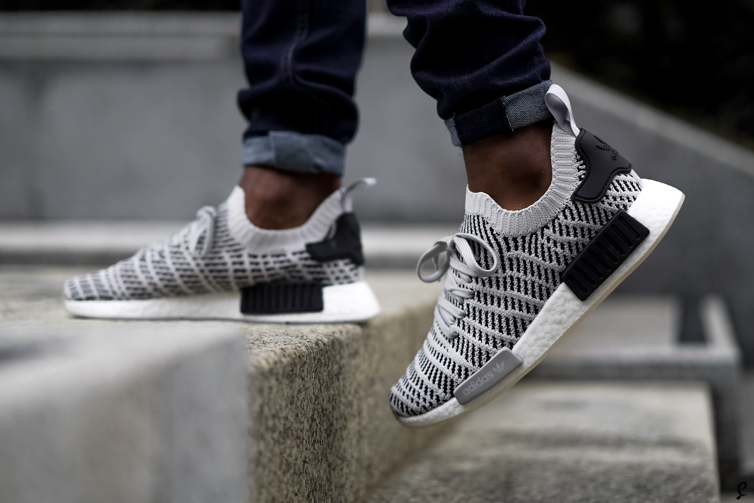 On Foot Look At The adidas NMD R1 STLT Grey White | The Sole