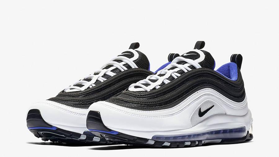 blue black and white air max 97
