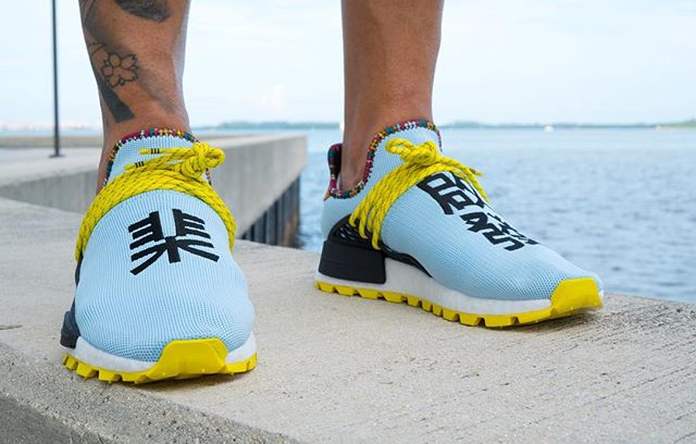 An On Foot Look At The Pharrell X Adidas Originals Nmd Hu Inspiration Pack Clear Sky The Sole Supplier