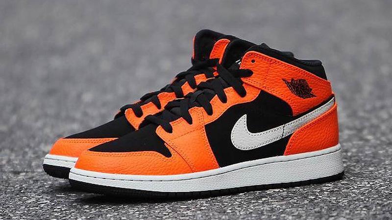 Jordan 1 Mid Black Orange Where To Buy 554724 062 The Sole