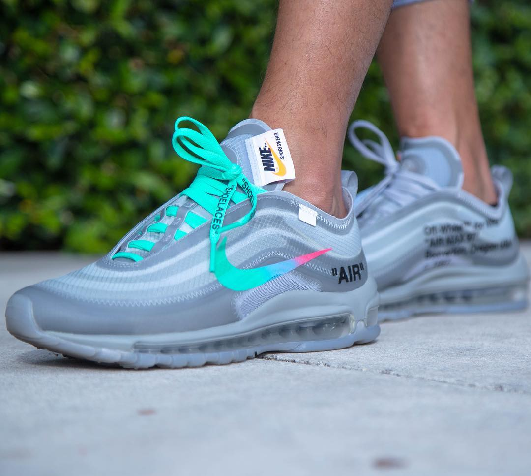 An On Foot Look At The Off White X Nike Air Max 97 Wolf Grey The Sole Supplier