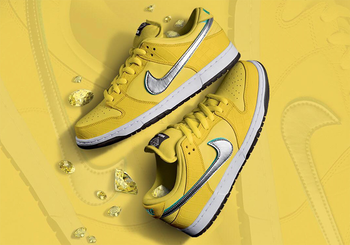 "Diamond Supply Co. x Nike SB Dunk Low ""Yellow"" For Sale"