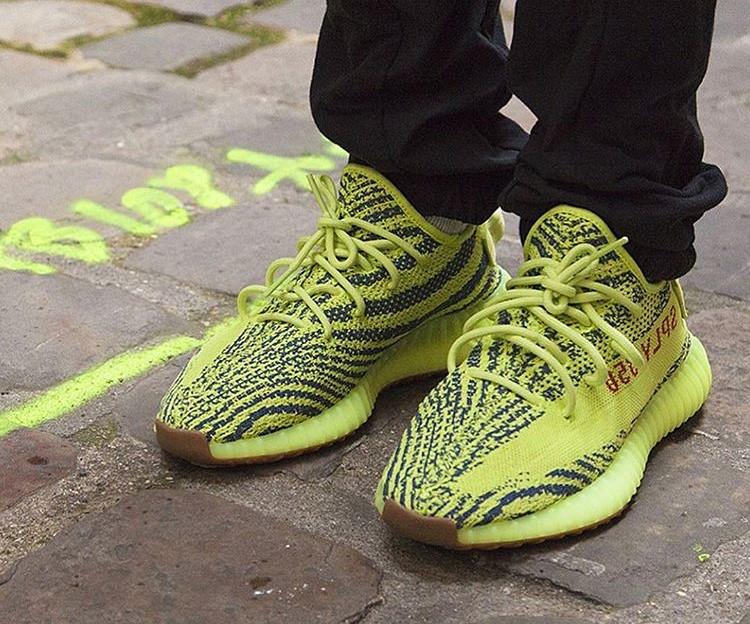 yeezy semi frozen yellow on feet