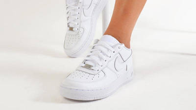 Nike Air Force 1 Low GS White On Foot Front