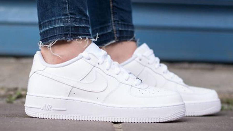 Nike Air Force 1 Low GS White On Foot Side