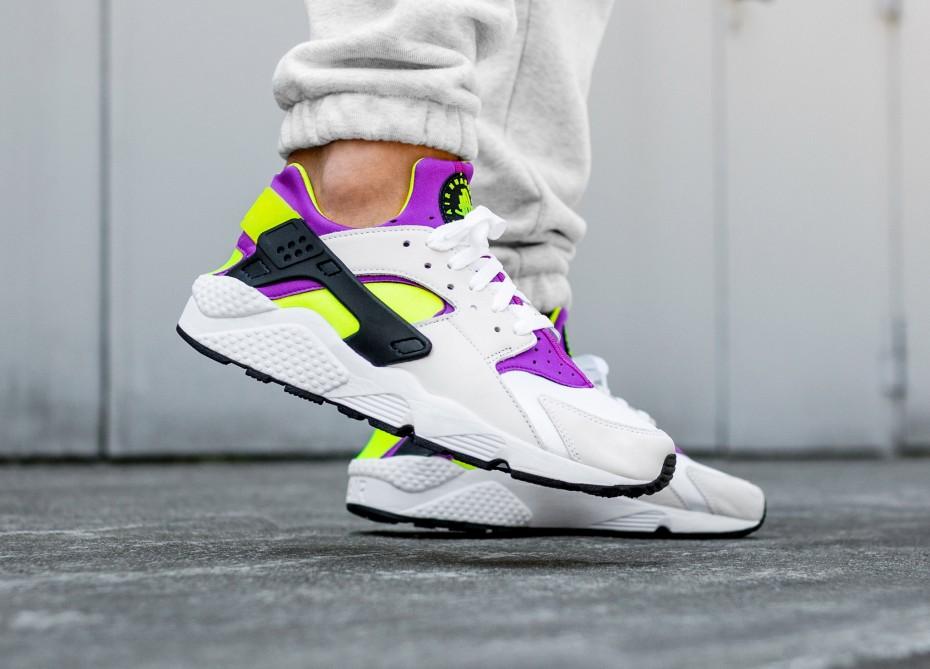 Nike Men Air Huarache Run 91 Qs (white black neon yellow magenta)
