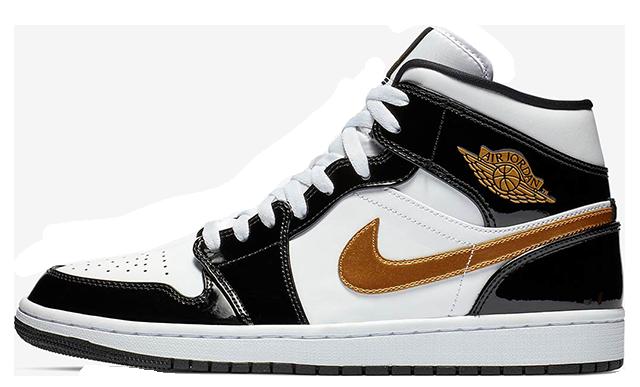 Jordan 1 Mid Patent Black White Gold 852542-007