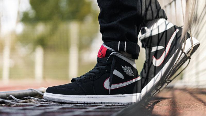 Jordan 1 Mid Black Grey Red   Where To