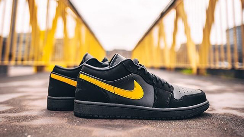 Jordan 1 Low Black Yellow Footasylum