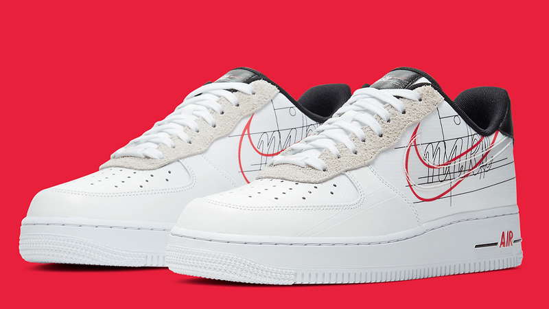 white air force 1 red swoosh