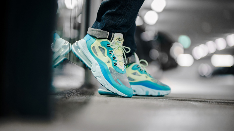Nike Air Max 270 React Hyper Jade AO4971-301 on foot by the wall