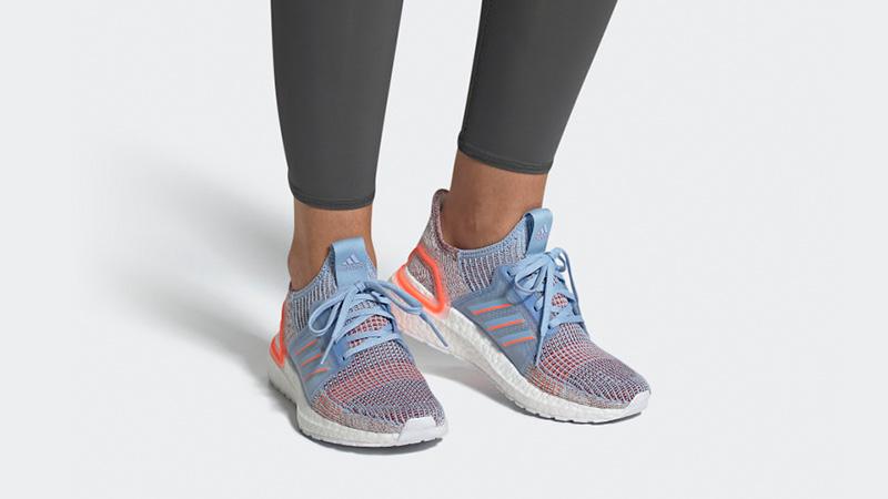 adidas Ultra Boost 19 Glow Blue G27483 on foot
