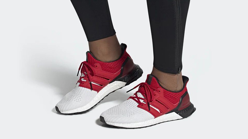 adidas Ultra Boost White Red G28999 on foot