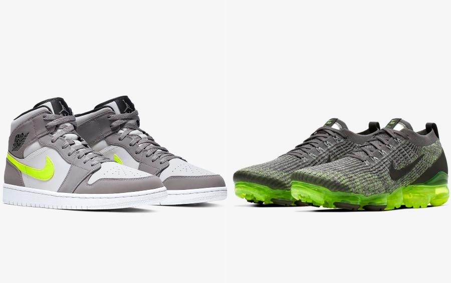 Available Now: Jordan 1 Mid And Nike Vapormax Flyknit 3 'Gunsmoke'