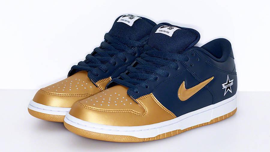 Supreme X Nike Sb Dunk Low Gold Navy