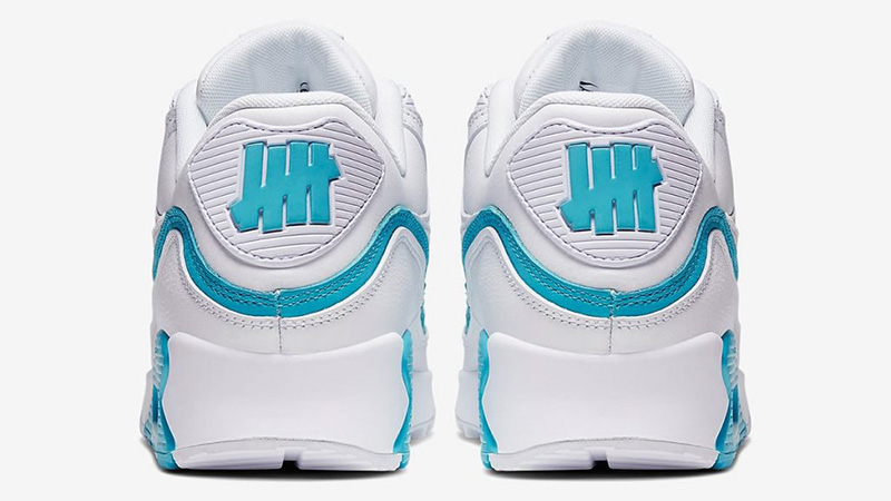 UNDEFEATED x Nike Air Max 90 White Blue CJ7197-102 back