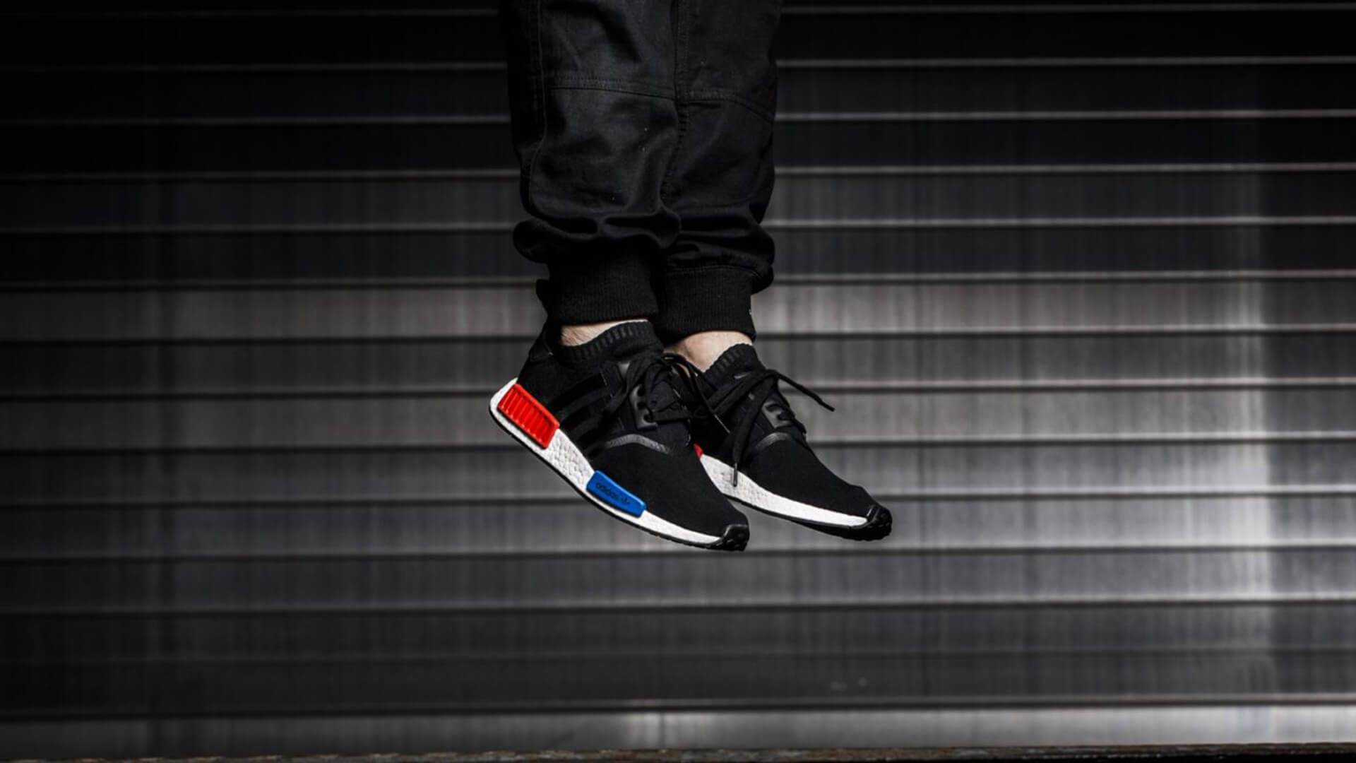 adidas nmd mens black red blue
