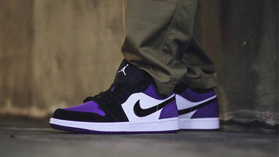 Jordan 1 Low Court Purple On Foot
