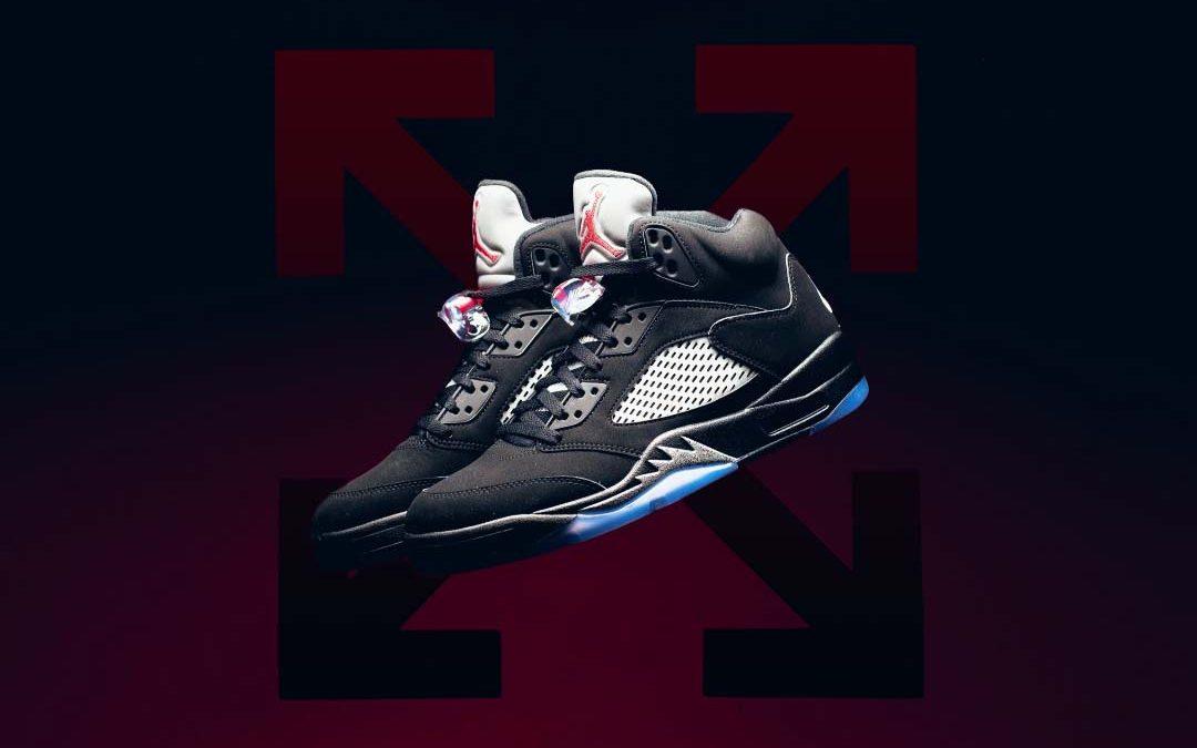 """Off-White x Air Jordan 5 """"Black Metallic"""""""