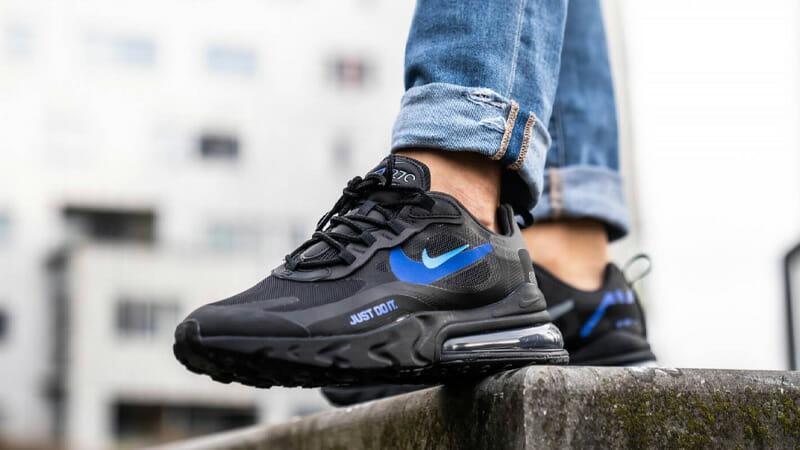 air max 270 react black on feet