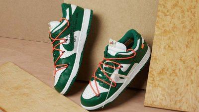 Off-White x Nike Dunk Low Pine Green Raffles