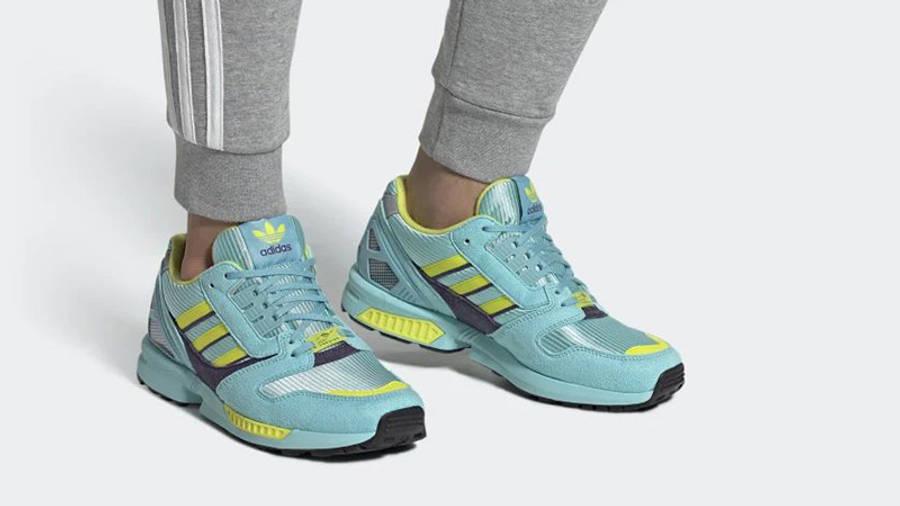 adidas ZX 8000 Aqua Yellow EG8784 on foot