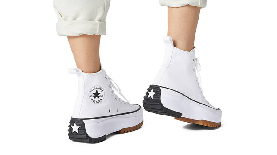 Converse Runstar Hike High White Black Gum On Foot Back