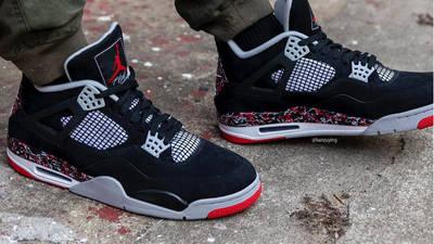 Drake OVO x Jordan 4 Splatter On Foot1