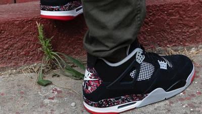 Drake OVO x Jordan 4 Splatter On Foot
