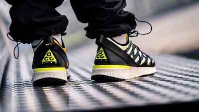 Nike ACG React Terra Gobe Volt Gold BV6344-701 on foot back