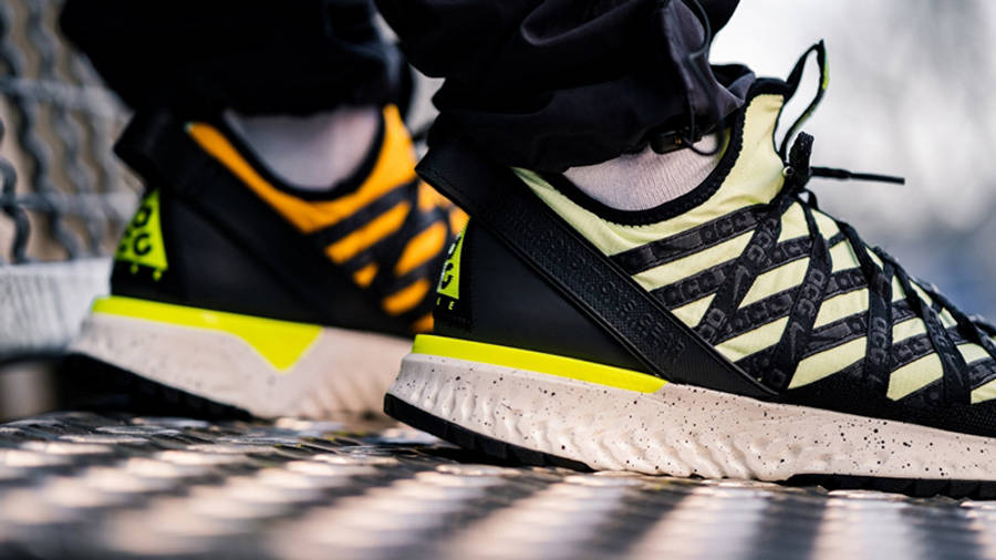 Nike ACG React Terra Gobe Volt Gold BV6344-701 on foot side