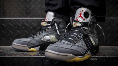 Off-White x Jordan 5 Black CT8480-001 on foot front black lace