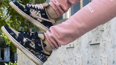 Travis Scott x Nike SB Dunk Low Cactus Jack on foot on air
