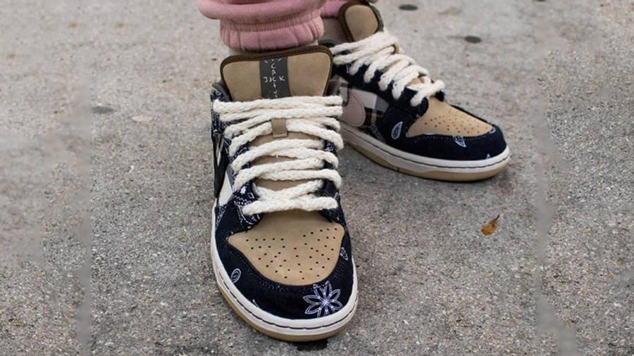 Travis Scott x Nike SB Dunk Low Cactus Jack on foot toebox