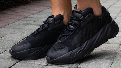 Yeezy Boost 700 MNVN Triple Black On Foot Front Side