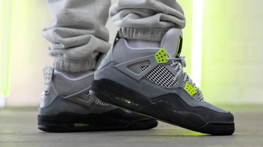 Jordan 4 Neon Air Max 95 Grey On Foot