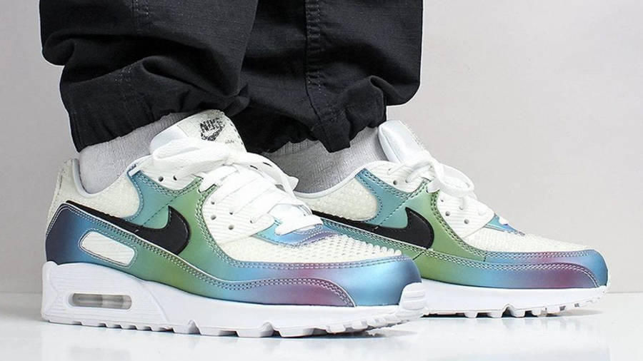 Nike Air Max 90 Bubble Pack White On Foot