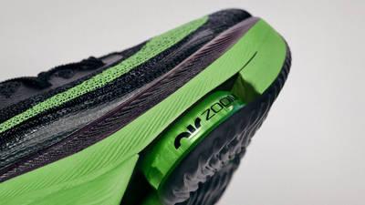 Nike Air Zoom Alphafly NEXT% Black Volt Front Sole Closeup