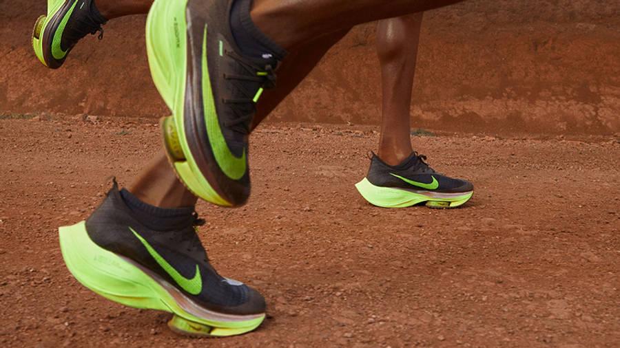 Nike Air Zoom Alphafly NEXT Black Volt On Foot Running