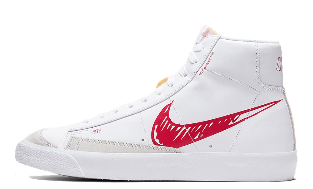 Nike Blazer Mid 77 White Red Sketch