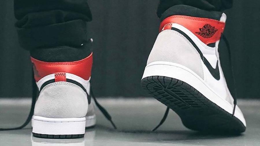 Air Jordan 1 Retro High Light Smoke Grey Lifestyle On Foot Back