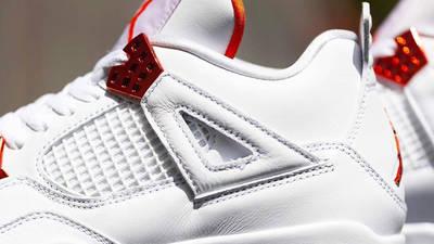 Jordan 4 Metallic Pack White Orange Side Closeup